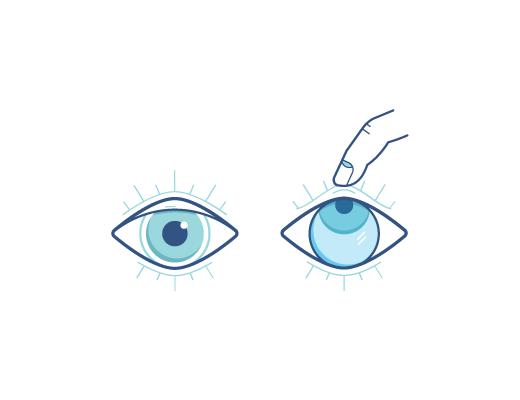视线往上看,一只手的中指轻拉下眼睑